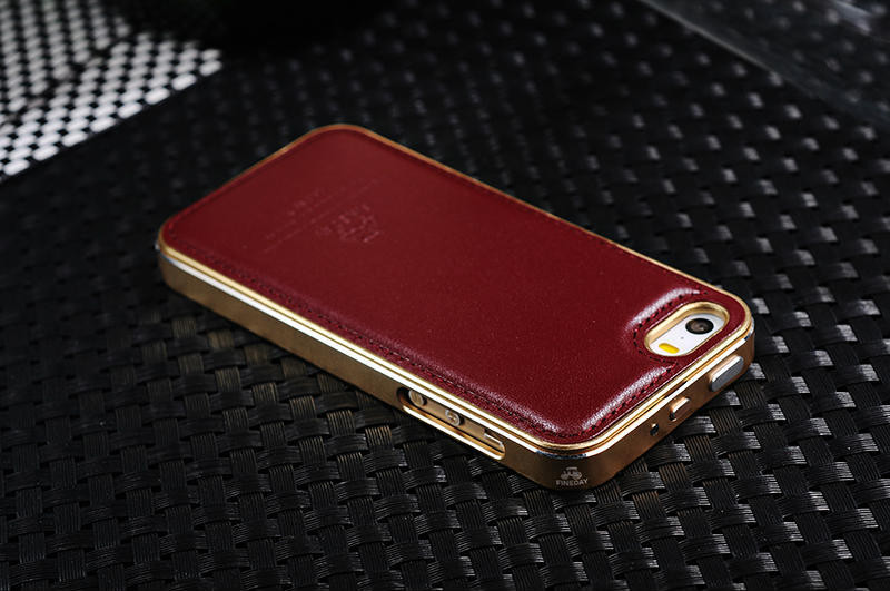 Case For Apple iPhone 5 5S Original Genuine Real Leather Back Cover Uitra-hard High-Tech Double Anodizing Aluminum Metal Frame