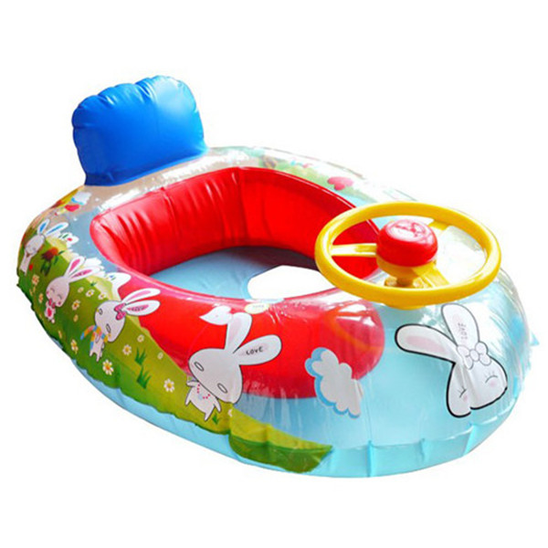 Cute Kids Baby Inflatable Swimming laps Pool Swim Ring Seat Float Boat with Wheel Horn turmpet Free shipping(China (Mainland))