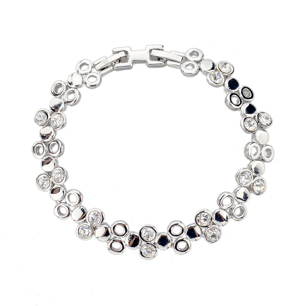 CHOKER Luxury silver Plated Chain Link Bracelet for Women Ladies Shining Crystal Birthday Jewelry Gift(China (Mainland))