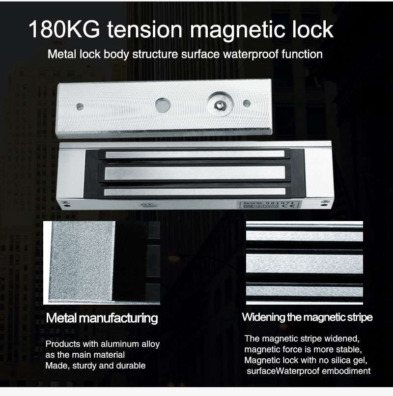 Access Control System 180KG (350LB) Single Door 12V Electric Magnetic Lock Electromagnetic Lock Holding Force Free Shipping
