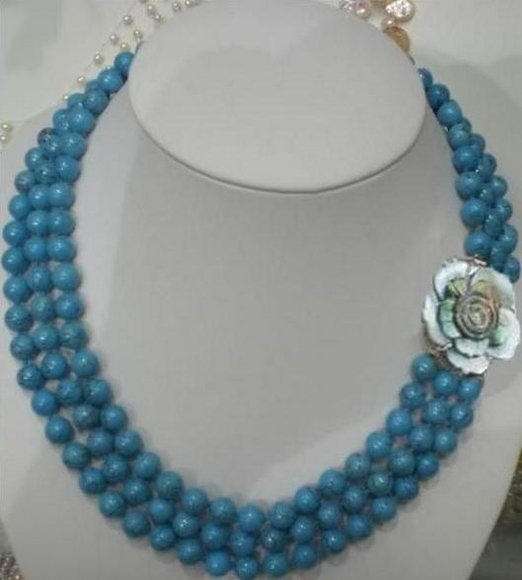 wholesale free shipping-GENUINE NATURAL TURQUOISE NECKLACE SHELL CLASP