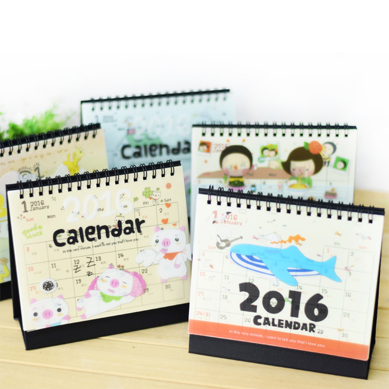 2016 Desktop Calendar Cute Cartoon Plastic Sheet Covers Desktop Calendar Date Books(China (Mainland))