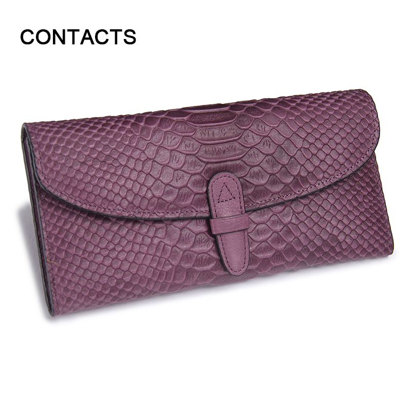 2016 Hot Sale Fashion Snake Print Leather Clutch Wallet Folded Genuine Leather Wallets Women's Cowhide Wallet Long Wallet Purple(China (Mainland))