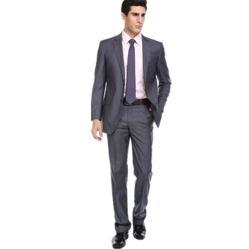 Custom Made Mens Suits Groomsmen Notch Lapel Groom Tuxedos Grey Wedding Best Man Suit  (Jacket+Pants+Tie+Girdle) B634