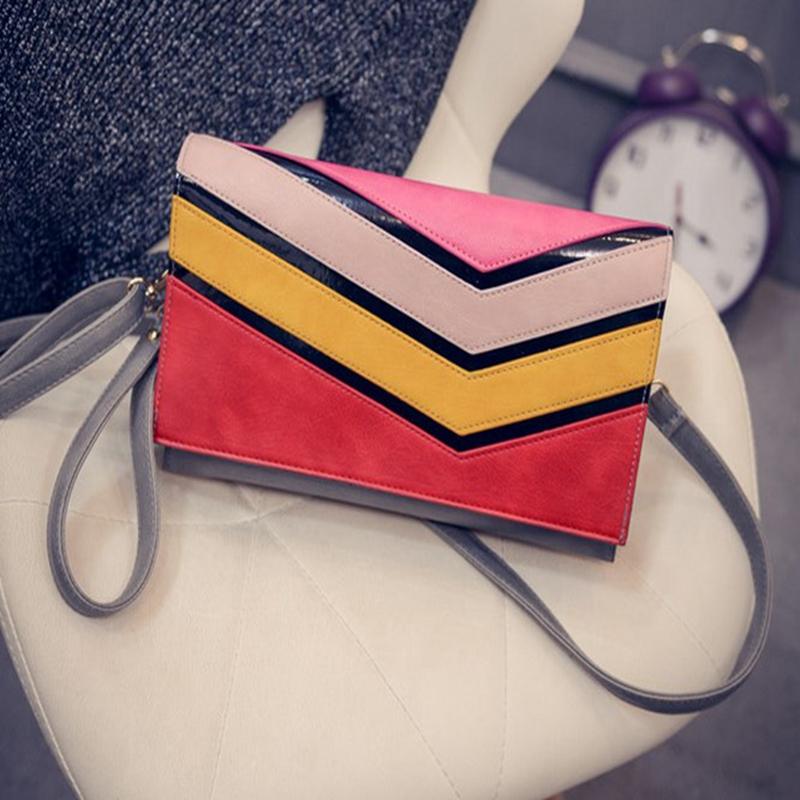 Contrast Color Patchwork Clutch Bag Women PU Handbag Unique Shoulder Messenger Bags Day Clutches Crossbody Bag Femininas Bolsas(China (Mainland))