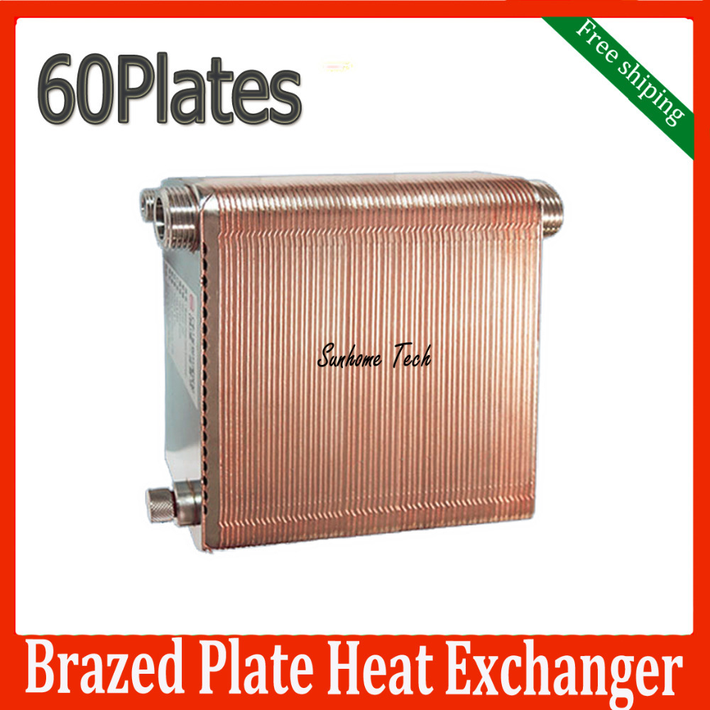 Free Shipping 60 plates Brazed Plate Heat Exchanger SUS316 Stainless Steel,recirculating chiller(China (Mainland))