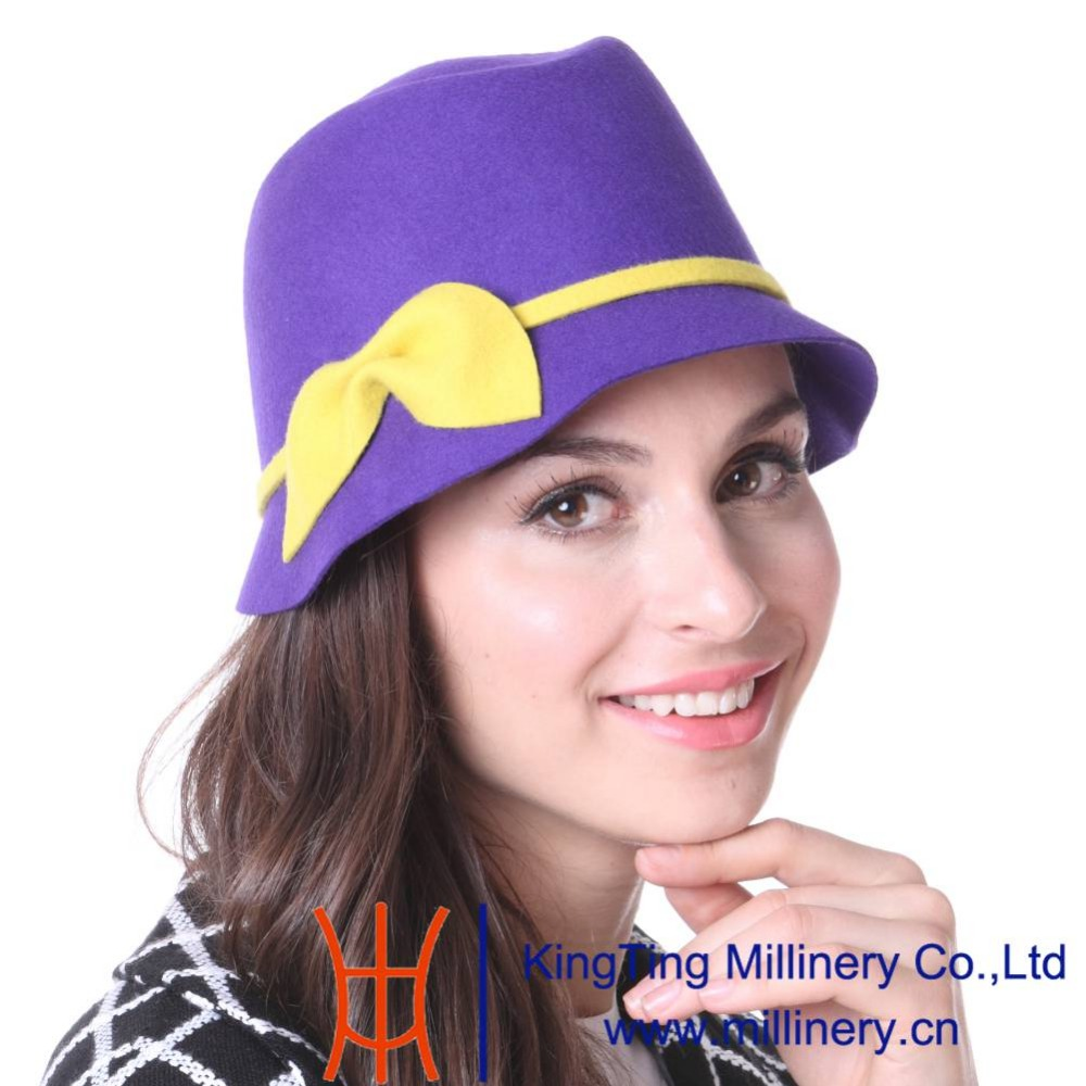 June's Young Women Hat Winter Outdoor Wedding Hat Wool Hat Church Hat 100% Wool Purple Yellow Color Lady Cute Hot Sale Fedoras(China (Mainland))