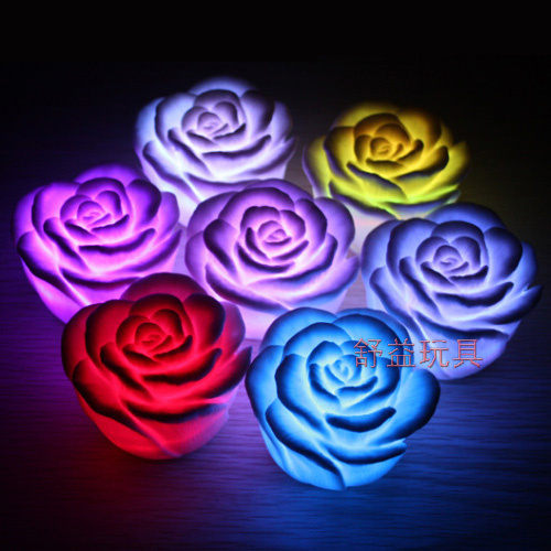 100piece/package Colorful Rose Night Light Colorful roses romantic Valentine's Day wedding gift night light led night light(China (Mainland))