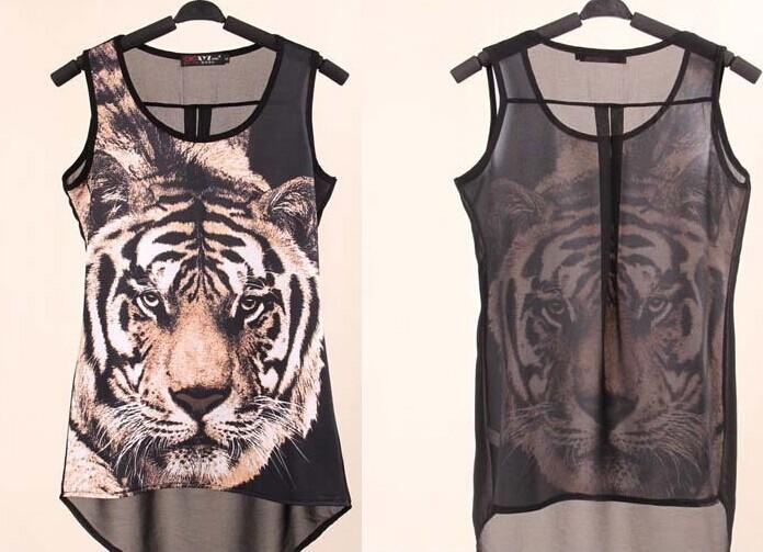 Summer Style Casual Chiffon Vintage Blouse Shirt Camisas Femininas Tiger Print Womens Tops Blusas Plus Size Ropa Mujer 2015(China (Mainland))