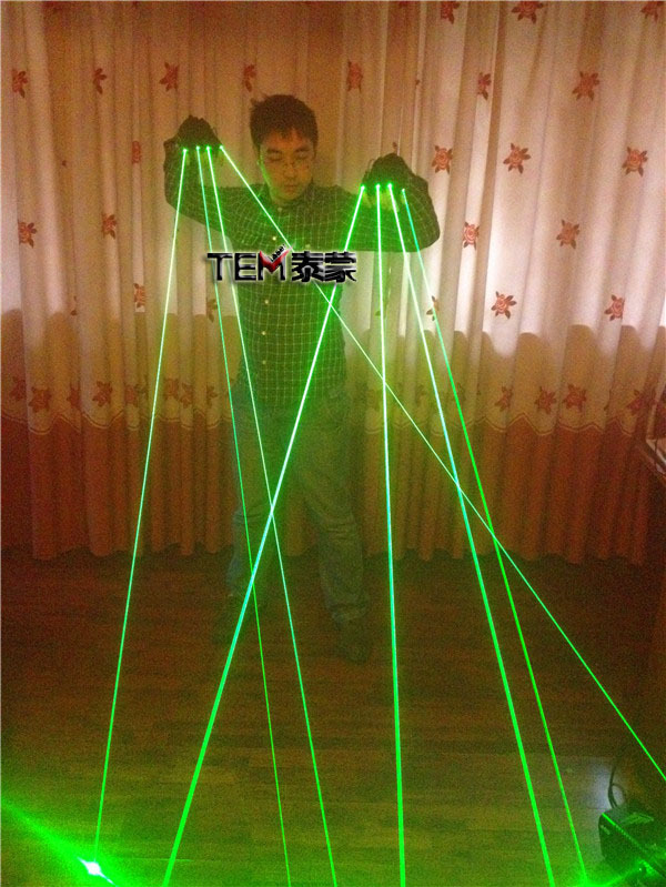 Super cool Nightbar singer DJ stage show 4 fingers 532nm 50mW Green Laser Gloves LED light Gloves(China (Mainland))
