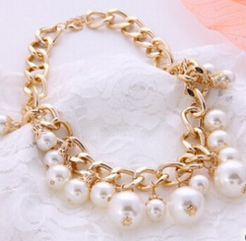 Jewelry Fashion Spring New 2015 Brand Gold Plated Pearl Choker Necklace Statement Woman necklaces & pendants nj-189 - Olaru Store store