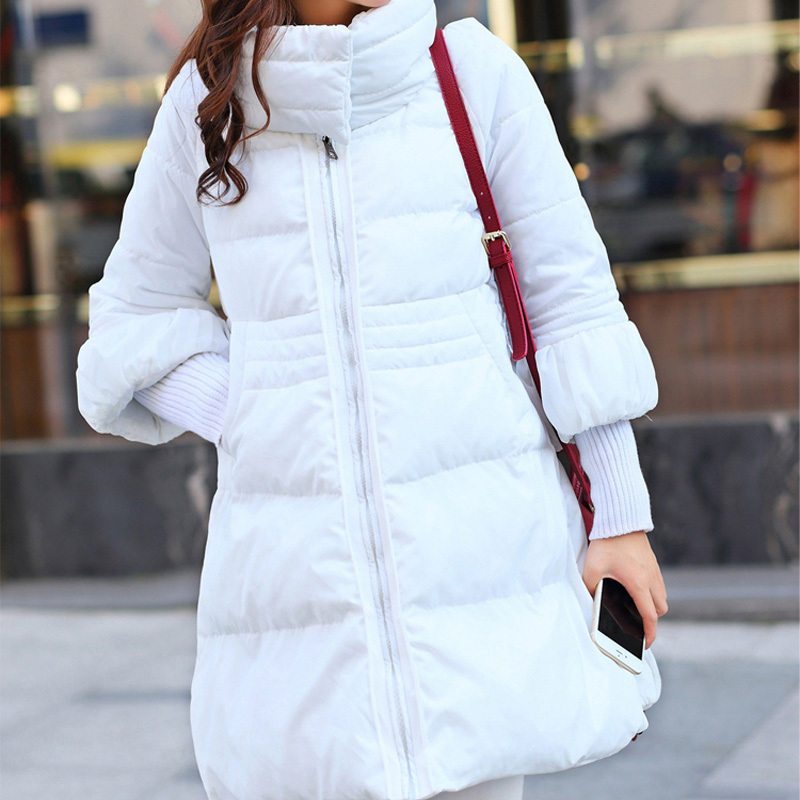 Winter Jacket Women Thick Ribbed Sleeve Coat Long Parka Plus Size Solid Lin BN348
