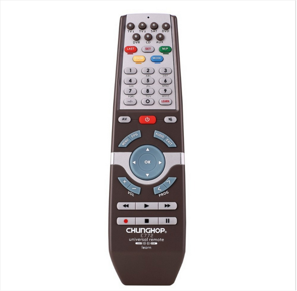 1PCS Chunghop E772 2AAA Combinational remote control learn remote for TV SAT DVD CBL DVB-T AUX universal remote CE 3d Smart TV(China (Mainland))