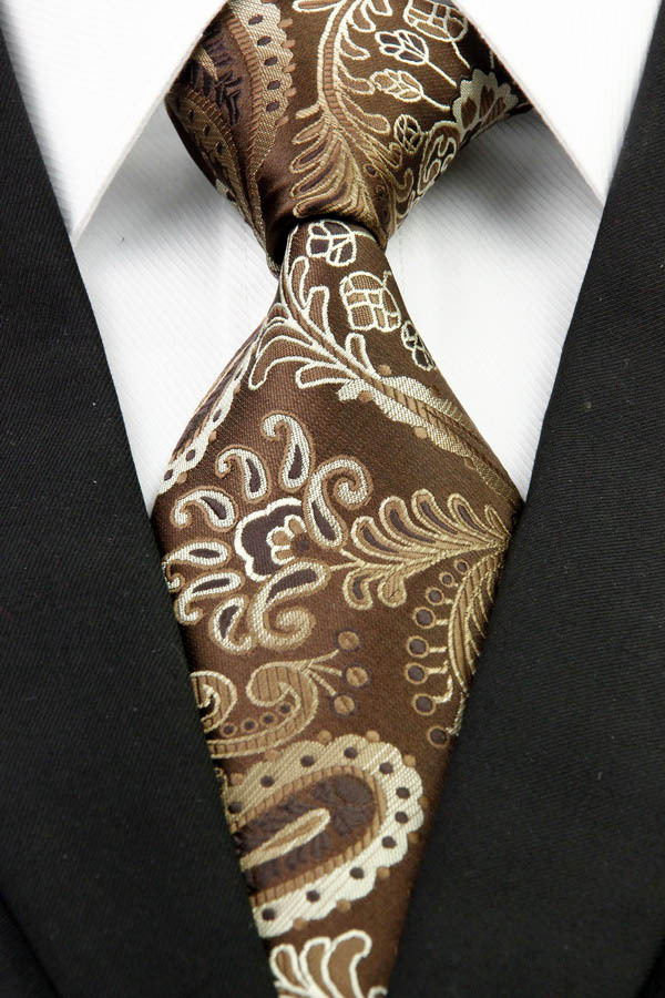 NT0286 Brown Beige Paisley Man s Classic Business Wedding Party Tie Fashion Luxury Jacquard Woven Silk