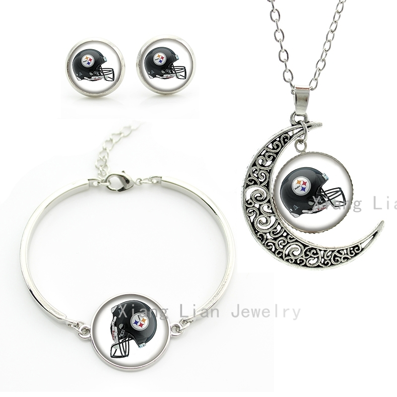 Vintage american football helmet necklace earrings bracelet sets Pittsburgh Steelers rugby team plated silver jewelry set NF111(China (Mainland))