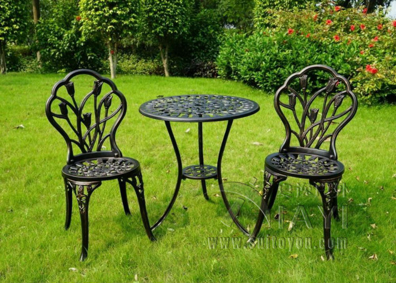 3 piece of Aluminum Bistro Set In Antique Copper chairs and table for Garden(China (Mainland))
