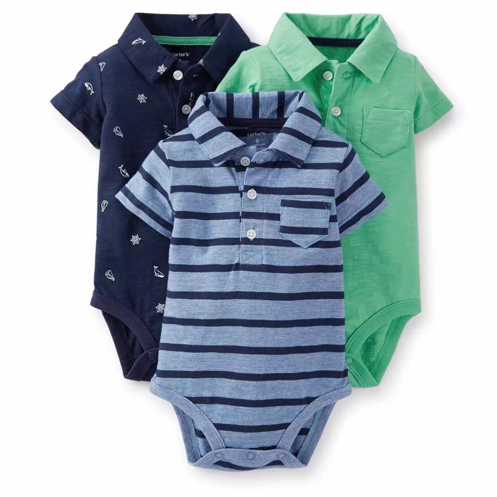 3pc 2016 Baby Boy Clothes New Born CTS Original Roupa Infantil Cotton Baby Sets Children Infant Clothing Polo Short Bodysuit(China (Mainland))