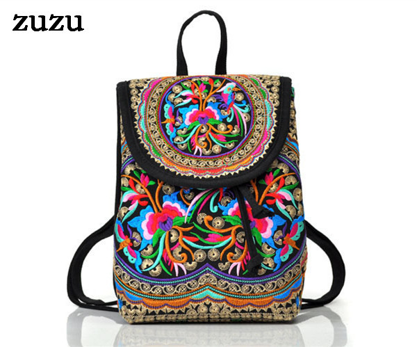 National trend canvas embroidery Ethnic backpack women handmade flower Embroidered Bag Travel Bags schoolbag backpacks mochila(China (Mainland))