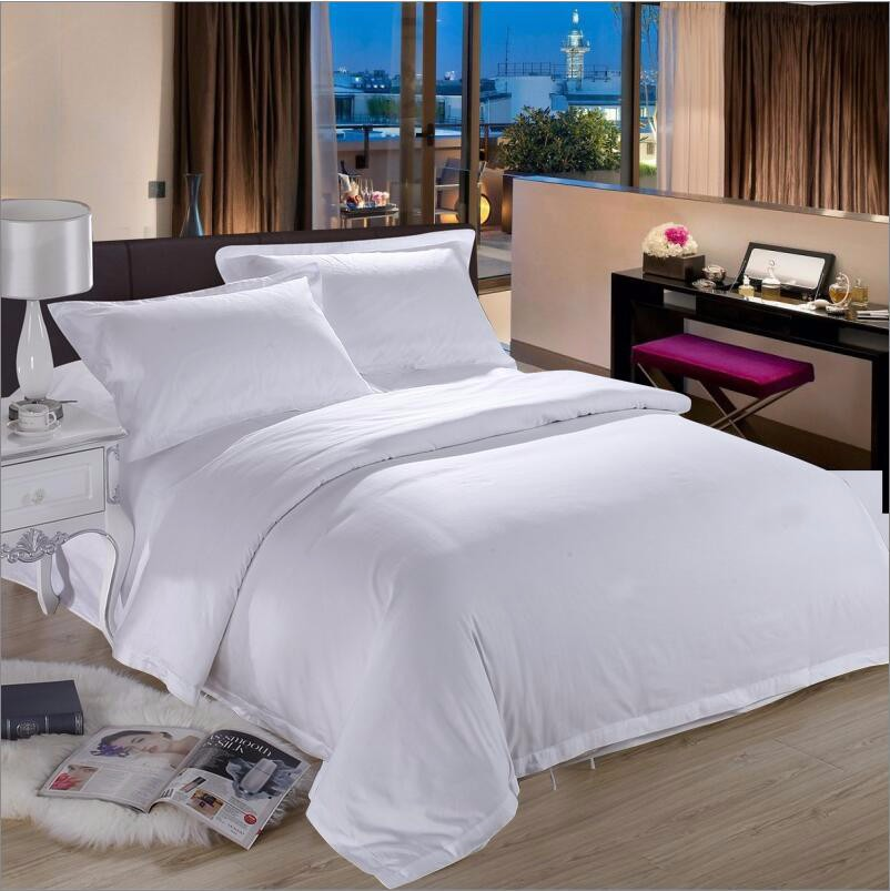 100% cotton Hotel Pure White bedding set luxury 4pcs Tribute Silk duvet cover king queen bed sheet pillowcases home textile(China (Mainland))