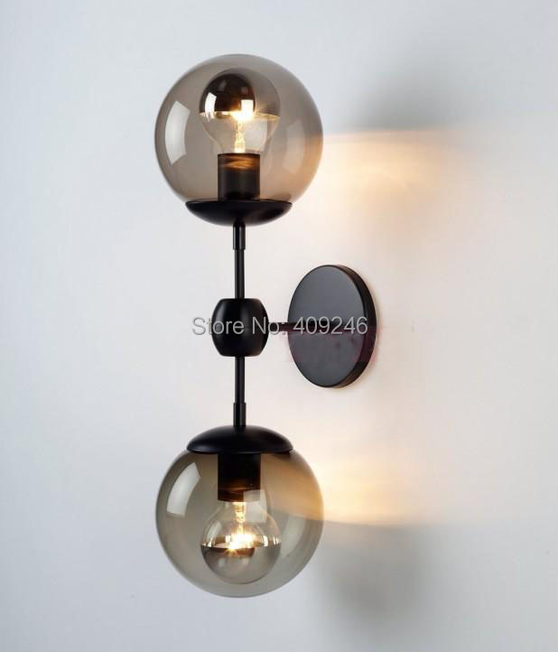 Edison Double Glass Ball Village RH loft Industrial Retro Mirror Wall Lamp E27 Lighting(China (Mainland))