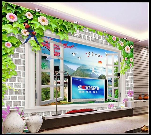 papel de parede , photo HD Window landscapes for TV backpack wall modern style 3D mural Interior decoration 3d wallpaper(China (Mainland))