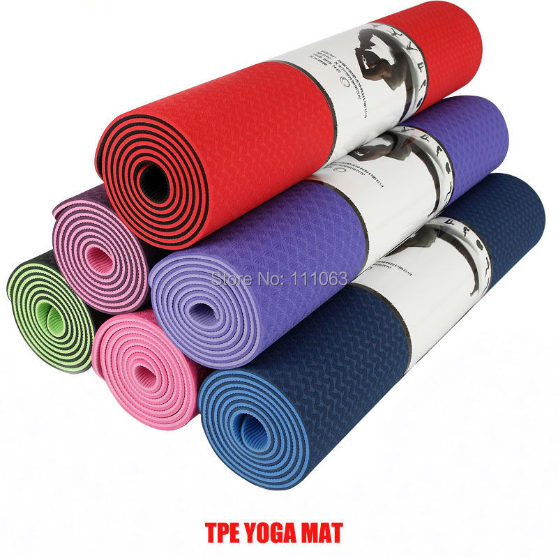 Quality-TPE-yoga-mat-No-slip-6mm-fitness-mat-with-bag-Free