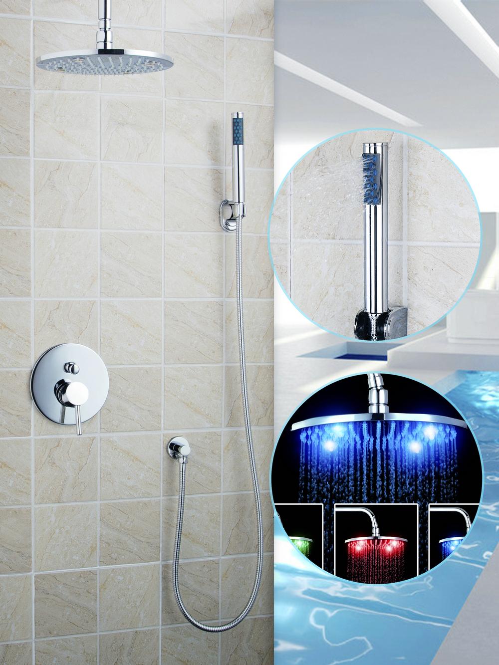"CoCa Bath Rain Shower chuveiro Set 10""Ceiling Mount 50247-22B/1 Shower Head+Shower Arm+Hand Shower+Mixer Tap Faucet Valve Chrome(China (Mainland))"