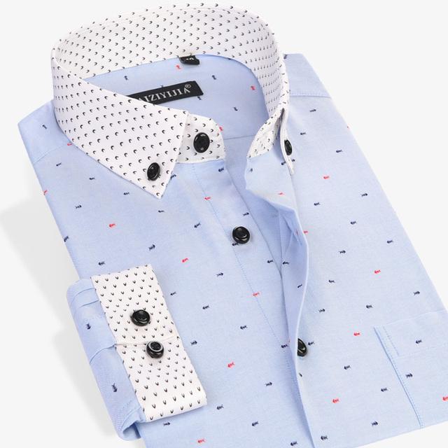 2016 весна мужчины с длинными рукавами печать рубашка комфорт мягкая Slim Fit мужские ...
