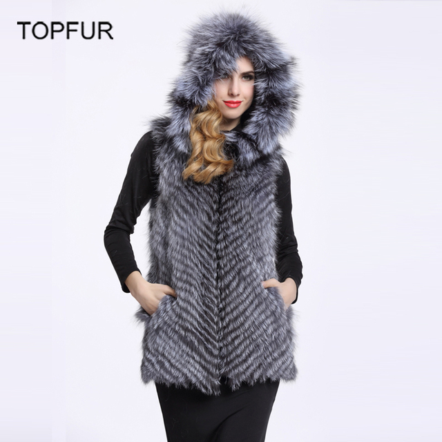 TOPFUR Silver Fox Fur Vest Genuine Real Waistcoat Women Winter Jackets With Fur Hood Natural Fox Fur Coats Jacket BF-V0009