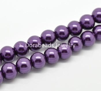 "2 Strands Dark Purple Glass Pearl Imitation Round Beads 10mm( 3/8"") Dia.  (B19350)8seasons"