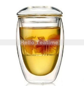 wholesale 350ml double wall glass tea cup with filter,clear double-wall flower tea office drinking glass cups,free shipping(China (Mainland))