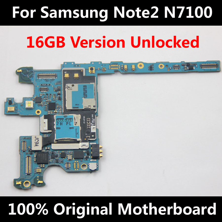 100% Original Official Unlocked Motherboard For Samsung Galaxy Note 2 N7100 16GB Mainboard With Chips Logic Board 100% Working(China (Mainland))