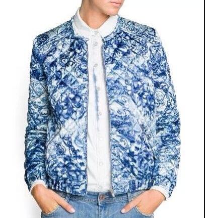 CT743 Новая Мода Женская Элегантный синий фарфор печати пальто хлопка мягкий с длинным ...