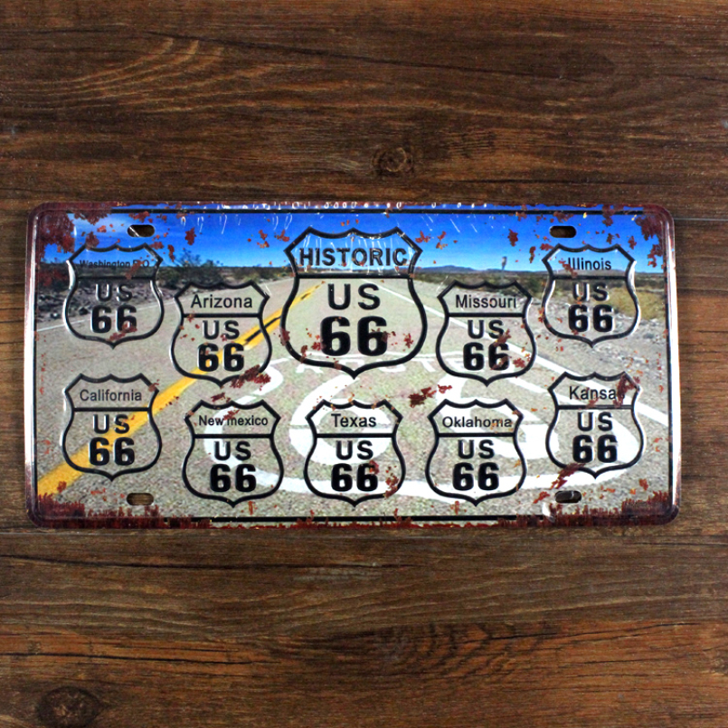 """SYF-A030 Free ship license plate car number""""USA route 66 road"""" vintage metal tin signs garage painting home decor plaque 15x30cm(China (Mainland))"""