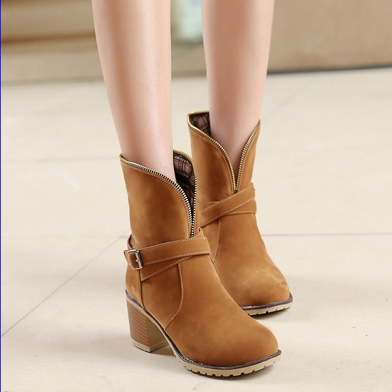Drop Shipping Thick High Heels Round Toe Ankle Boots For Women Sexy Platform Lady's Vintage Style Motorcycle Boot Hot Sale(China (Mainland))
