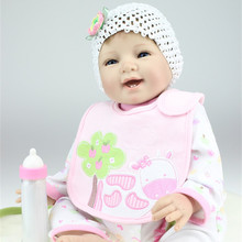 Buy 55cm Smile Cute Reborn Baby Girl Dolls Realistic Silicone Cheap Reborn Babies Sale Baby Reborn Dolls Beat Gifts Kids