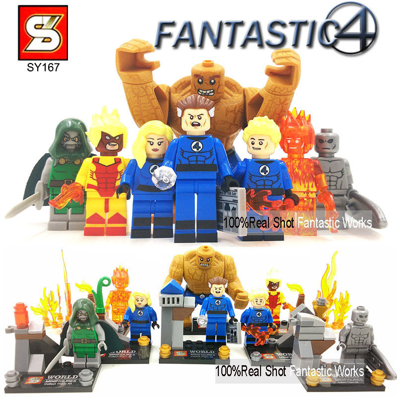 SY167 Fantastic Four action figures Blocks Figures Mr. Fantastic Invisible Woman The Thing Human Torch Dr Doom Silver Surfer(China (Mainland))