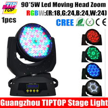 TIPTOP TP-L610 90X5W Zoom RGBW LED Moving Head Wash 16CH DMX DJ Stage Bar Club Lighting Electronic Strobe Smooth Dimmer 100-220V