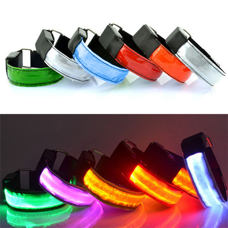 New Fashion LED Safety Reflective Light Shine Flash Glowing Luminous Armband Arm Belt Band Hand Strap Wristband Wrist Bracelets