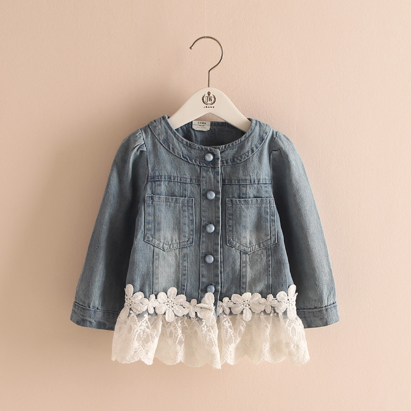 Spring Fashion Denim Girls Jackets Turn-down Collar Solid Kids Jackets Light Blue Cute Lace Girls Coat 2 - 10 Years Kd 7 BK004<br><br>Aliexpress