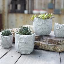 Creative Cement Owl Garden Pots