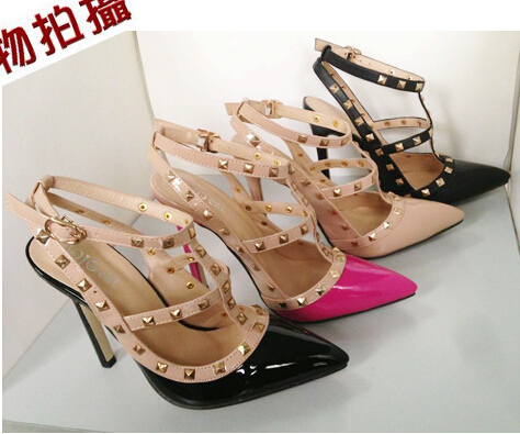 !wome's square rivet pointed toe 11.5cm high-heeled shoes thin heel Newest Pumps size 35-40 - good luck 777 store