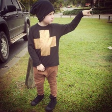 2016 nununu gold cross pattern winter baby boys ong-sleeve sweatshirts t shirts for boys clothing vetement enfant garcon tops