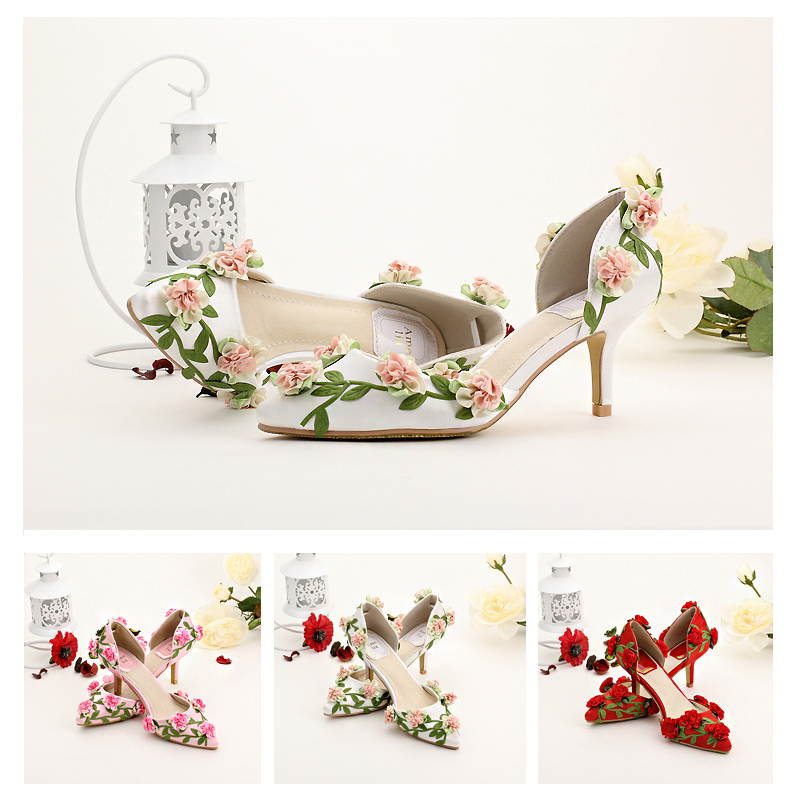 Beautiful faery bride shoes white tip flower marriage red fine with photography for women's shoes with high heels sandals 34-39(China (Mainland))