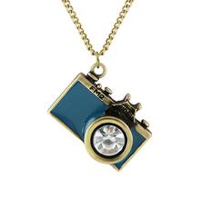 Bijoux Vintage Anitque or longue chaîne coloré émail caméra pendentif colliers Bijoux femmes Top vente colliers et pendentifs(China (Mainland))