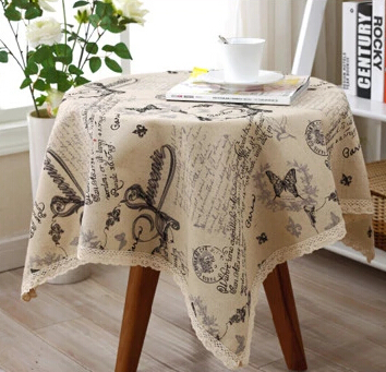 314-3# American country fashion cute letters linen lace table cloth tablecloth European coffee table mat wholesale(China (Mainland))