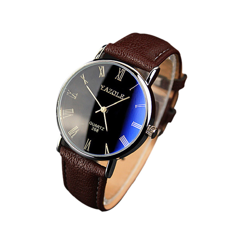Brand New Brown Luxury Fashion Faux Leather Mens Quartz Analog Watch Casual Male Business Watches Top