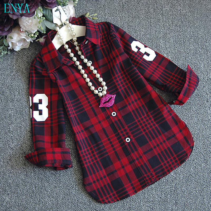 Гаджет  New fashion baby girls fall winter shirts,plaid letter graceful shirts baby girls clothes size100-140cm None Детские товары