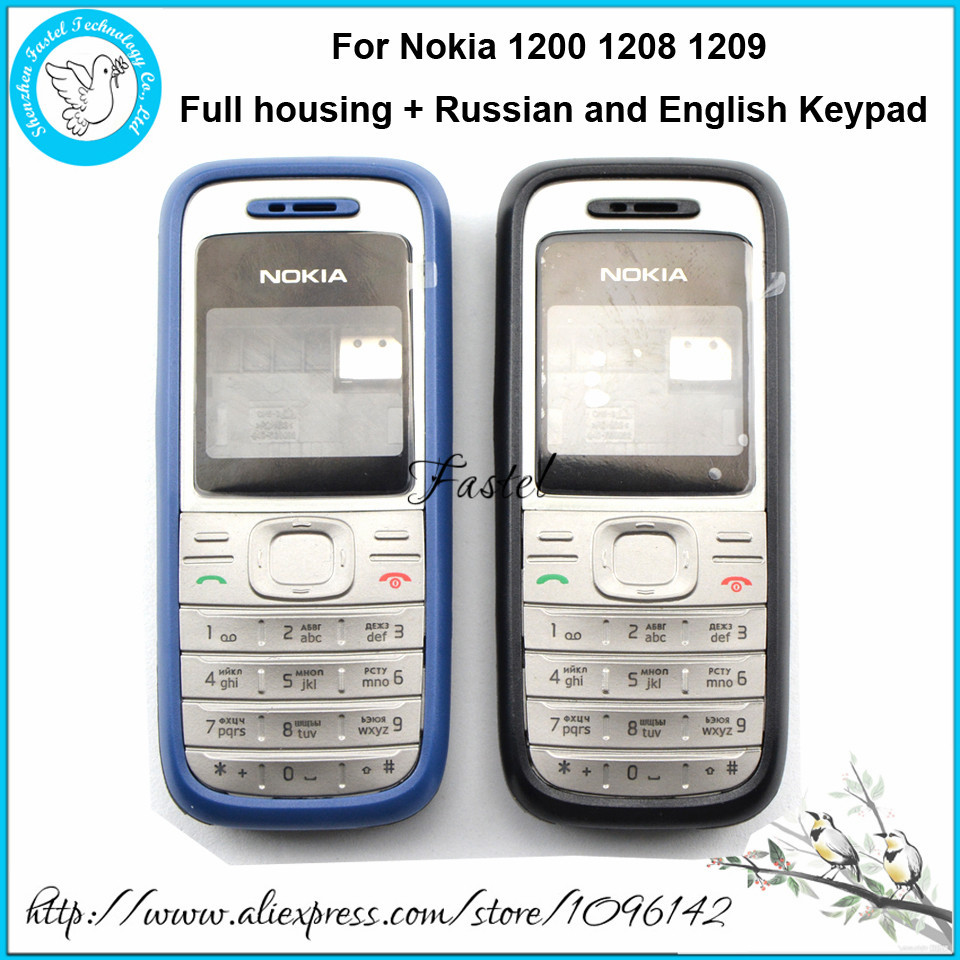 Nokia 1200/1208/1209 New Full Mobile Phone housing cover case+English or Russian Keypad+Tools, free shipping!
