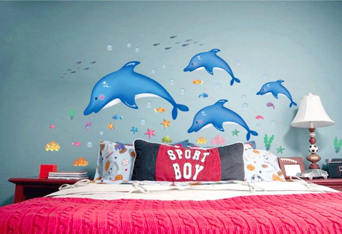 Removable Dolphin Wall Art Sticker Wall Decorations Decor Decals Murals Accessories Supplies Products For Kids Bathroom Bedroom(China (Mainland))